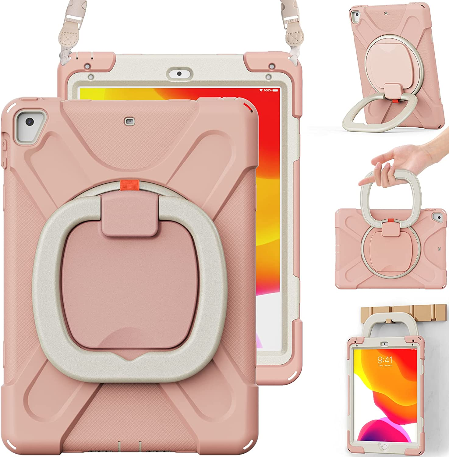 BRAECN Functional Kids Case, iPad 6th Generation Case 2018/iPad 5th Generation Case 2017, Rugged Silicone Cover with Hand Grip, Pencil Holder, Shoulder Strap, Stable Kickstand for iPad 9.7''-Rose Gold