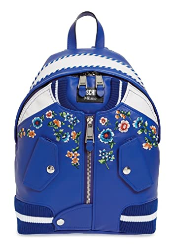 Moschino Blue Embroidered Floral Bomber Jacket Leather Backpack Scott New 113beb93aa