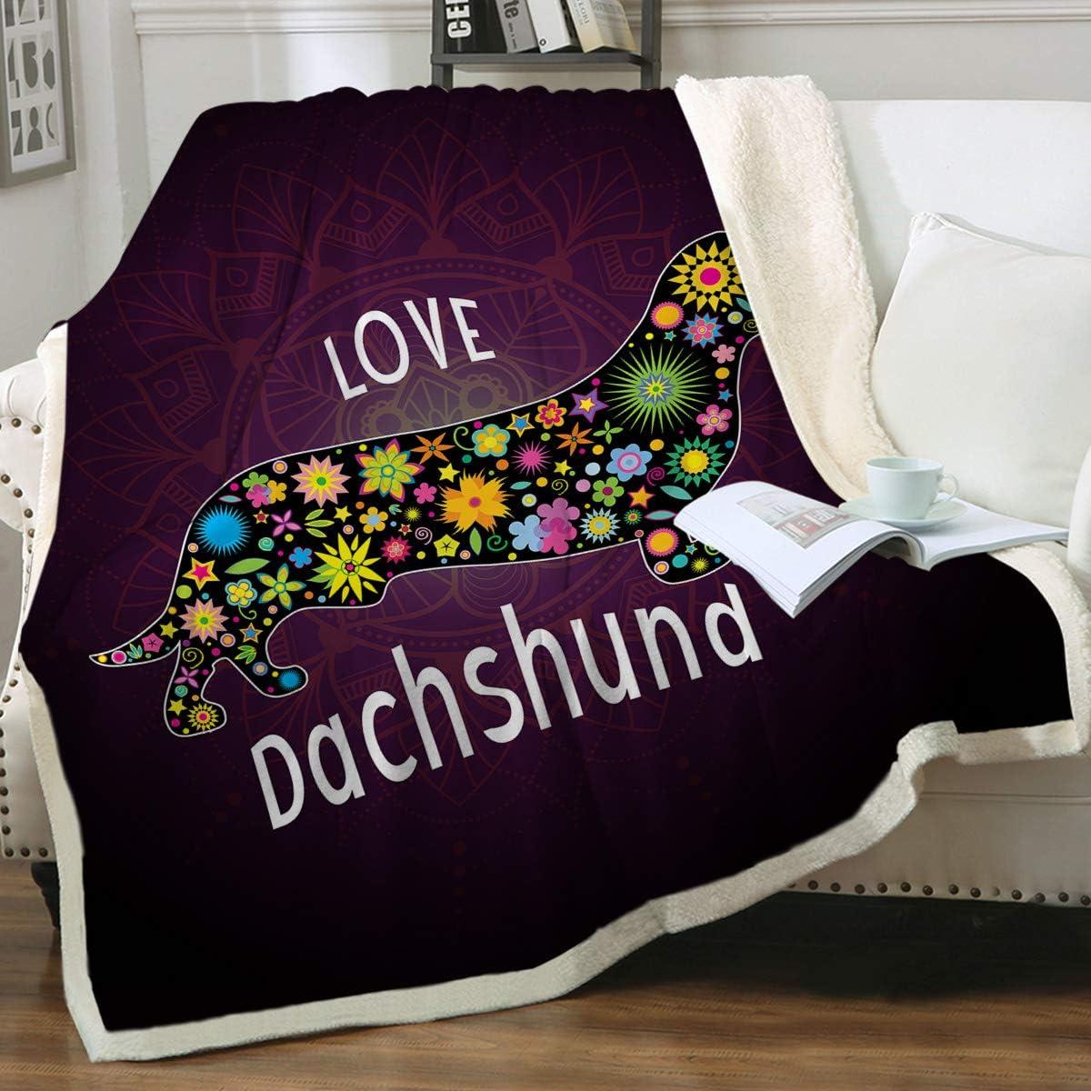 Cute Dachshund Faces Gift For Dog Lover Animal Sherpa Fleece Blanket