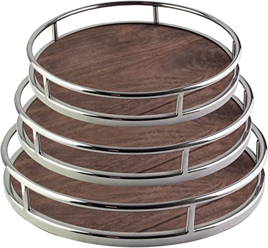Ottoman or Centerpiece Perfect Gift Idea for Birthday Large Rustic Decorative Platter w//Carry Handles for Food American Atelier Serving Tray Drinks Holiday /& More