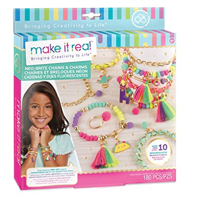 Make It Real - Neo-Brite Chains and Charms. DIY Gold Chain Charm Bracelet Making Kit for Girls. Arts and Crafts Kit to Create Unique Tween Bracelets with Neon Beads, Unique Pom Charms, and Gold Chains: Toys & Games