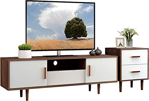 Mecor Mid-Century Modern White TV Stand w/End Table,Home Media Entertainment Center Set