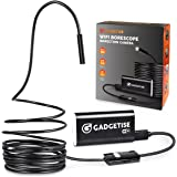 Wireless Endoscope, Gadgetise WiFi Borescope Inspection Camera 2.0 Megapixels HD Snake Camera for Android and iPhone Smartphones - Waterproof (5M-16FT)