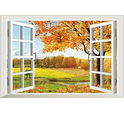 Amazon.com: 3D Fake Windows Wall Stickers Removable Faux Windows ...