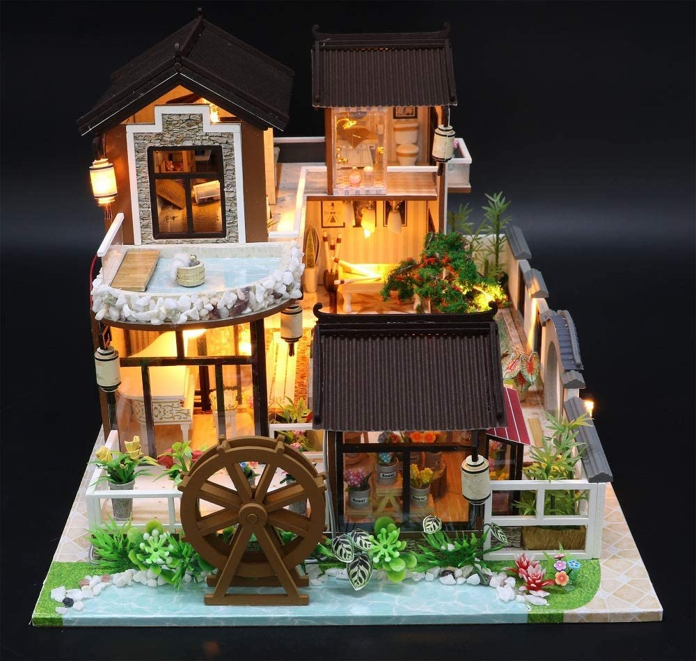 Eternal Love Dust Proof Cover and Music Movement Creative Craft Gift with Chinese Style for Lovers and Friends 1:24 Scale Miniature with Furniture Flever Wooden DIY Dollhouse Kit