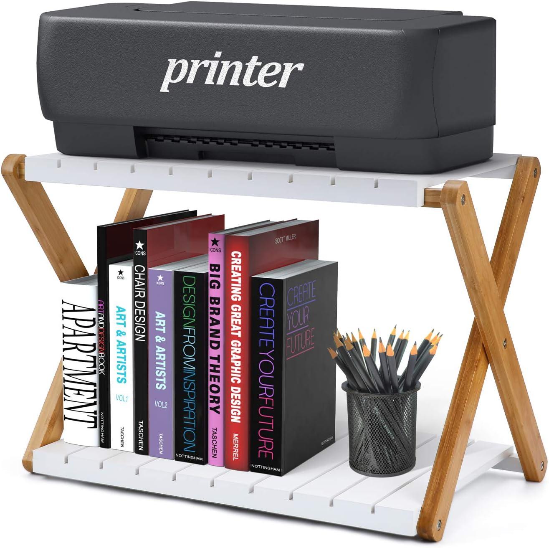 Nnewvante Desk Shelf Foldable Shelving Unit Printer Stand Multifunction 2 Tiers Bamboo Storage Organizer for Books, Fax Machine, Scanner, Files, Home Office Desktop Floor, White