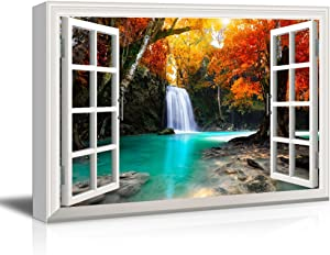 wall26 - Waterfall in The Forest with Red Trees - Canvas Art Wall Art -24