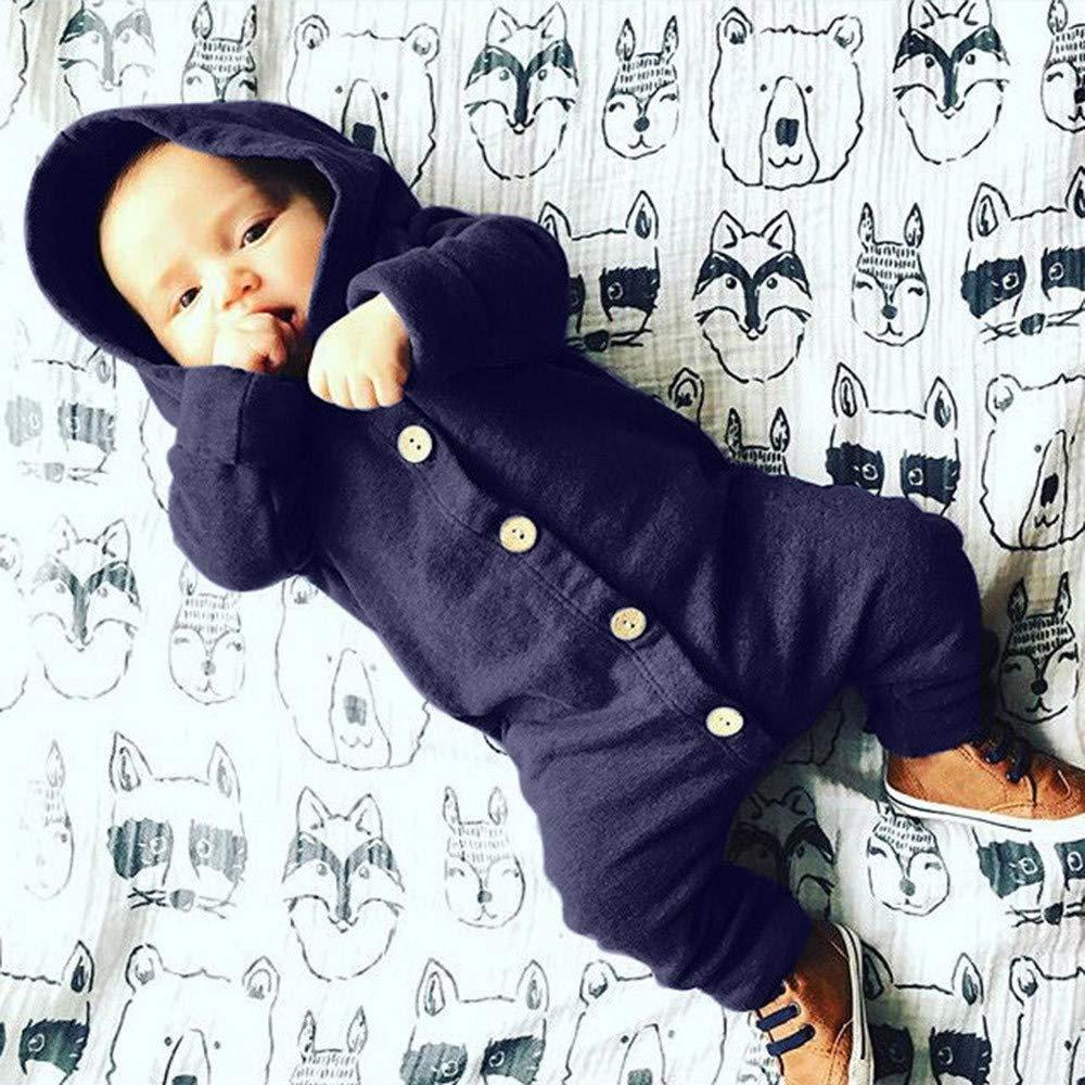 Ropa Bebé, LANSKIRT Recién Nacido Bebé Niño Niña Manga Larga Botón Sólido con Capucha Mono Ropa de Mameluco Traje de Ropa con Capucha 3-24 Meses: Amazon.es: ...