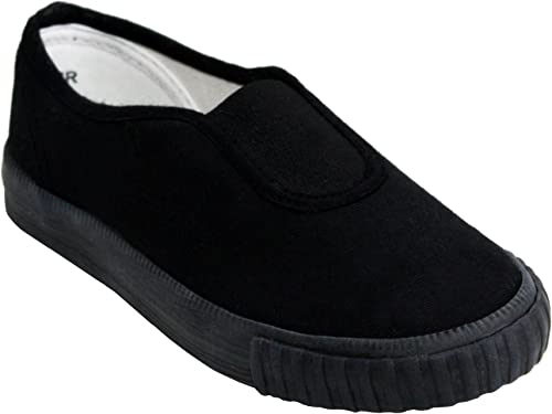 Dek Boys Girls Unisex Slip On Canvas Elastic Gusset Black Flat School Pumps Plimsolls Trainers Shoes Infant-Youth Sizes 10-5