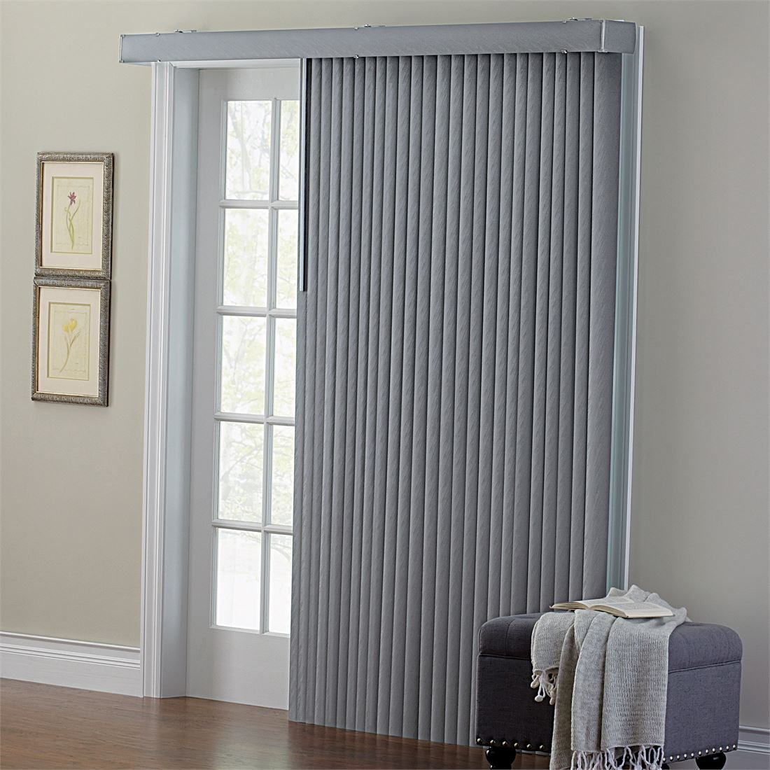 BrylaneHome Embossed Vertical Blinds (Grey,42