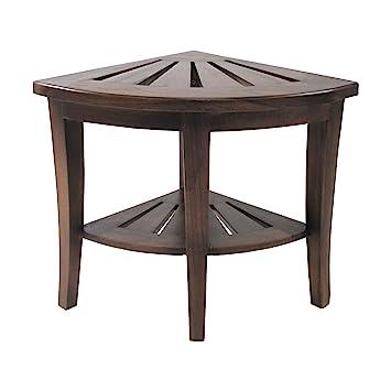 Amazon.com: Redmon Genine Corner Shower Bench, Wood Grain Teak ...
