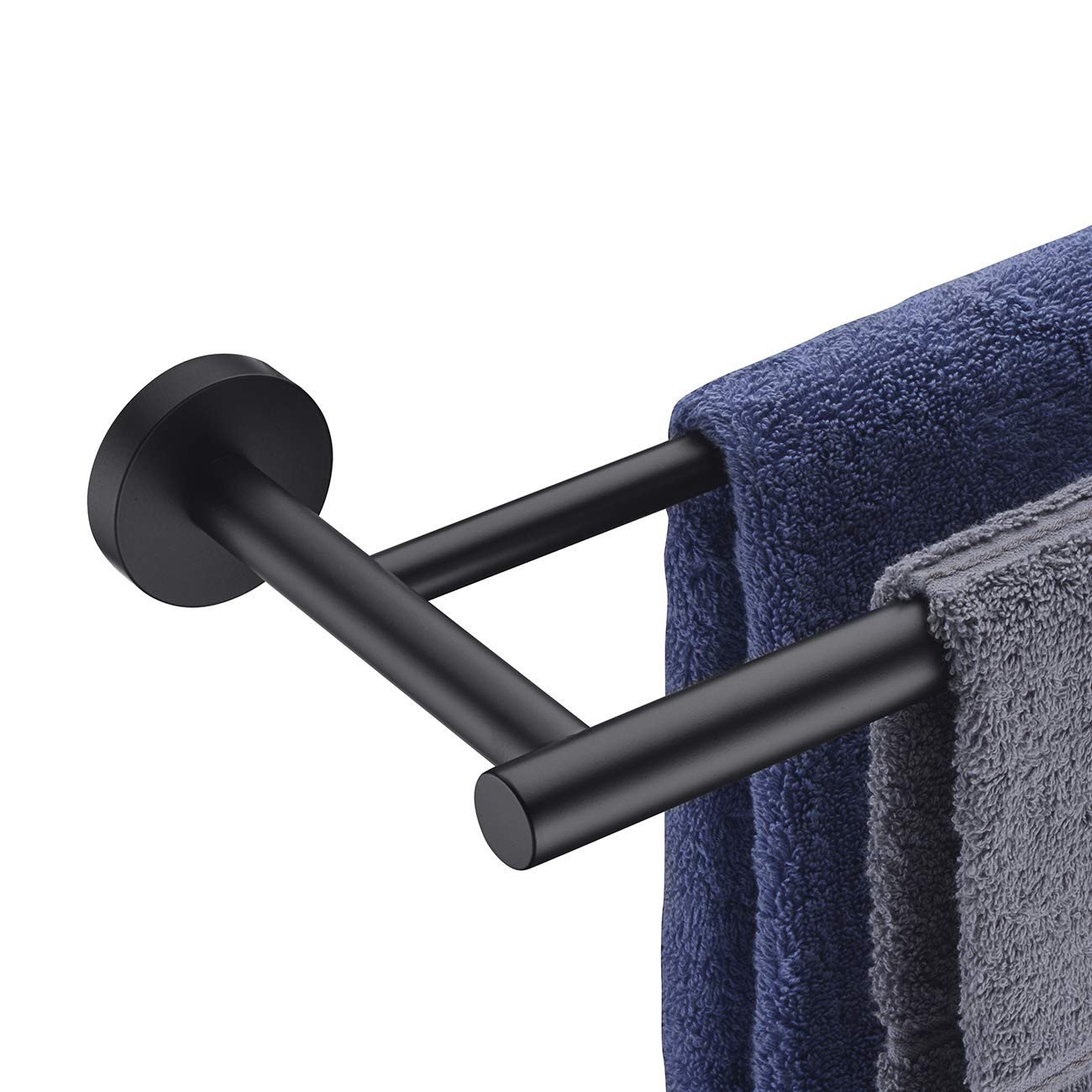 Hoooh Double Bath Towel Bar, 30-Inch Matte Black Stainless Steel Hand Towel Rack for Bathroom, A102L75-BK by Hoooh
