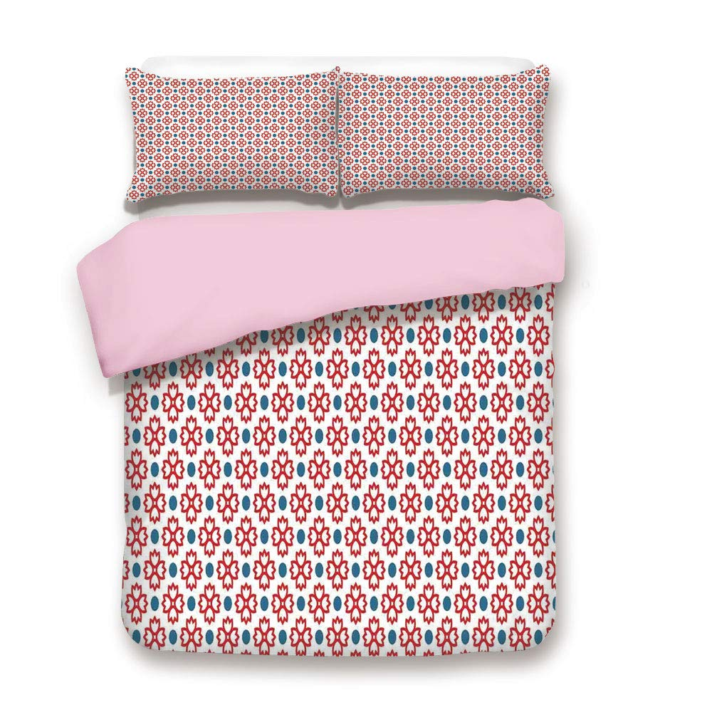 Pink Duvet Cover Set/Queen Size/Floral Tiles Vintage Pattern Seamless Decor Polkadots and Flowers Simple Graphic Art/Decorative 3 Piece Bedding Set with 2 Pillow Sham/Best Gift For Girls Women/Red Blu