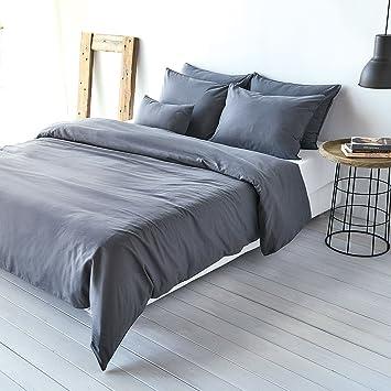 Traumschlaf Uni Leinen Bettwäsche Titan 1 Bettbezug 155 x