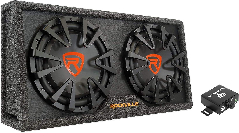 Rockville RG212CA 2000w Dual 12 Vented Powered Car Subwoofer Enclosure+Amp Kit