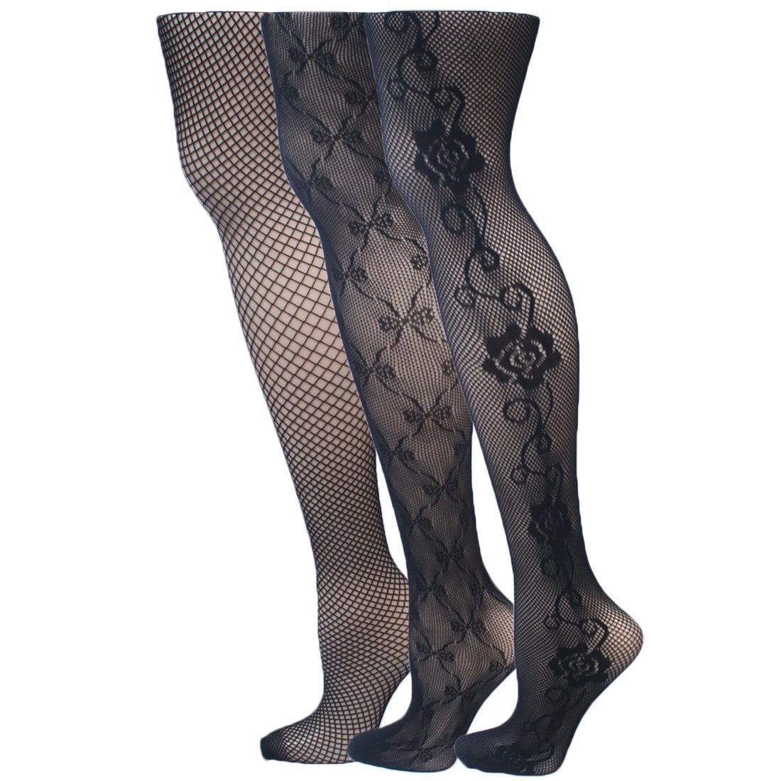 kilofly Sheer Patterned Pantyhose, Value Pack - Set of 3 Assorted Designs