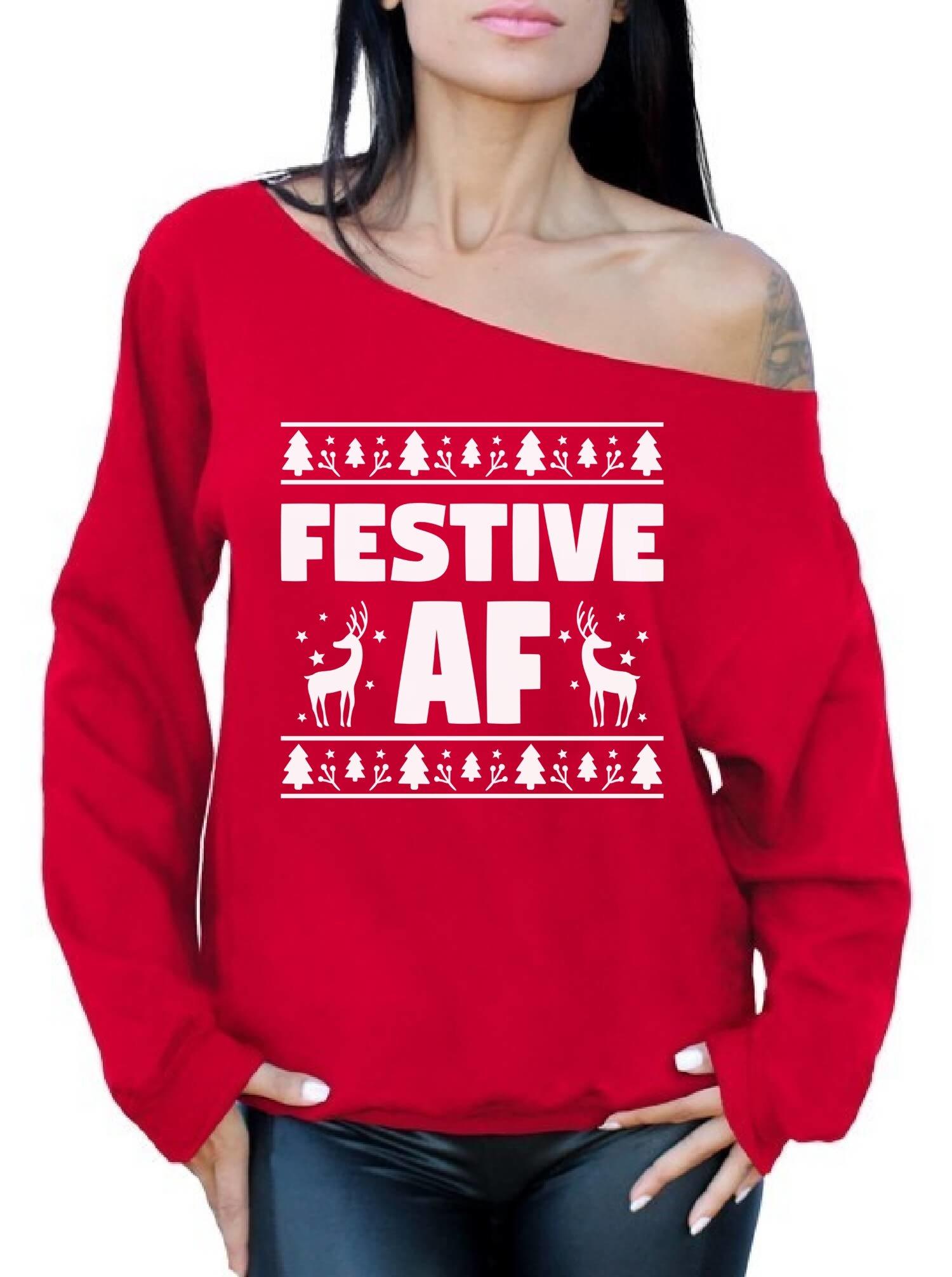 Awkward Styles Festive AF Sweatshirt Festive AF Sweater Ugly Christmas Off Shoulder Top Red M