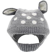 YOPINDO bebé sombrero de invierno de la niña caliente suave tejer lana Earflap Crochet Animal Beanie