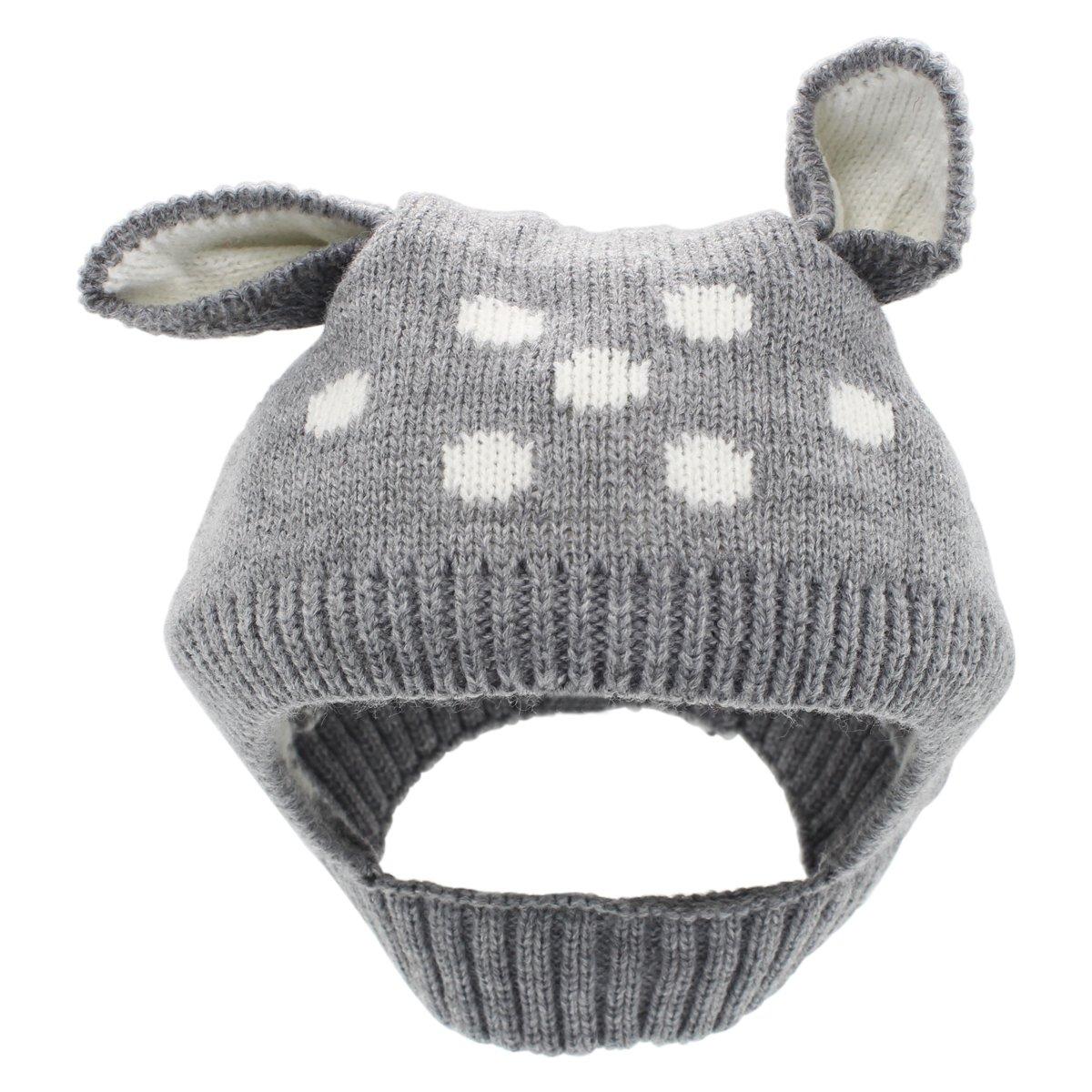 Cappello invernale della ragazza del neonato di YOPINDO Cappello di beanie animale caldo del Knit di lana molle caldo del crochet dell'orecchino della lana (Giallo)