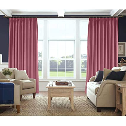 Macochico Room Darkening Curtains For Bedroom Burgundy Red Linen Pinch Pleated Drapes Panels Living