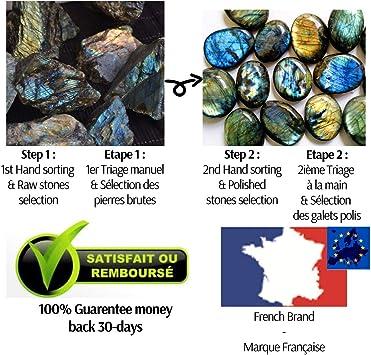 lithoth/érapie Eusice 100/% naturelle 126g, Vert-bleut/é Labradorite forme libre de qualit/é extra AAA+ Pierre bien-/être