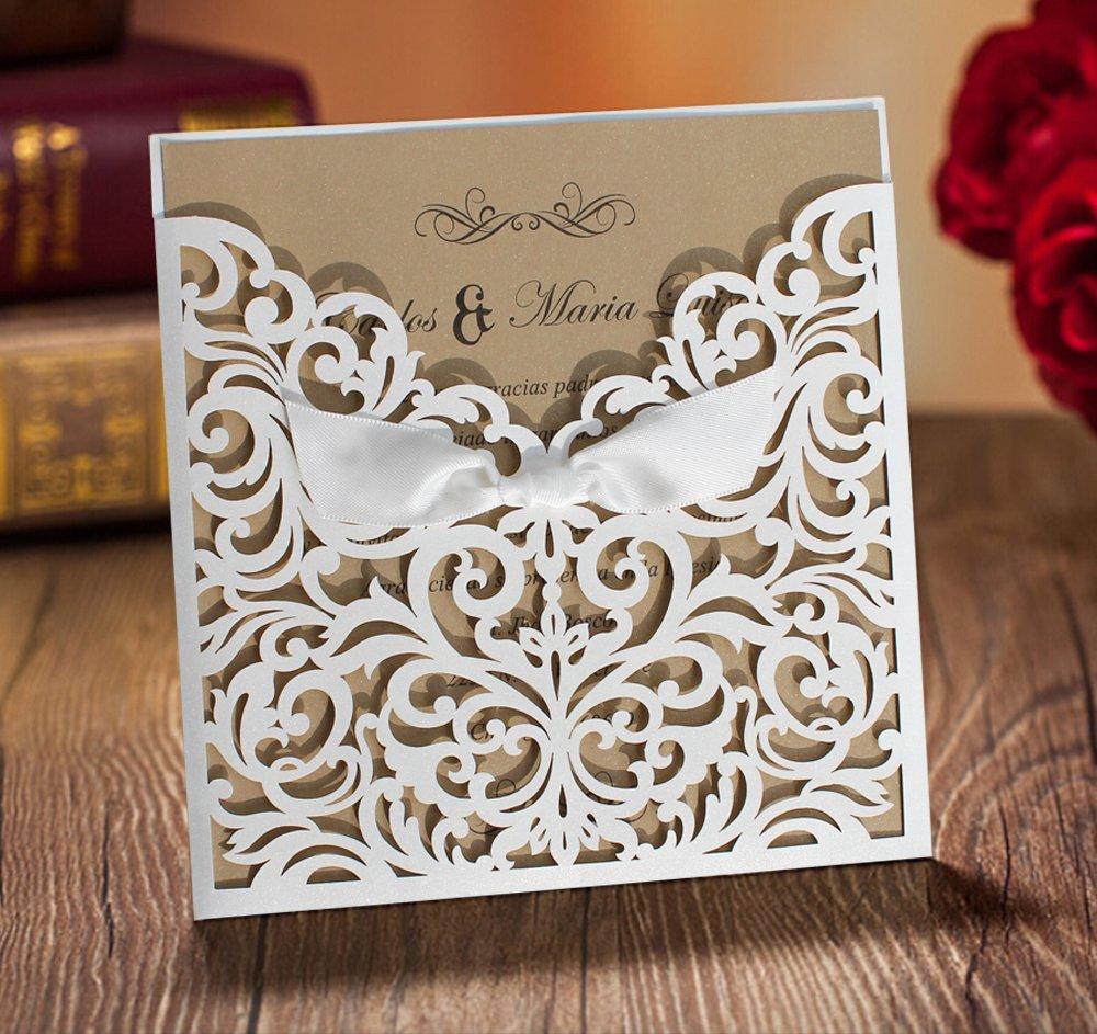 Pocket Wedding Invitation Cards White Wedding Invitations