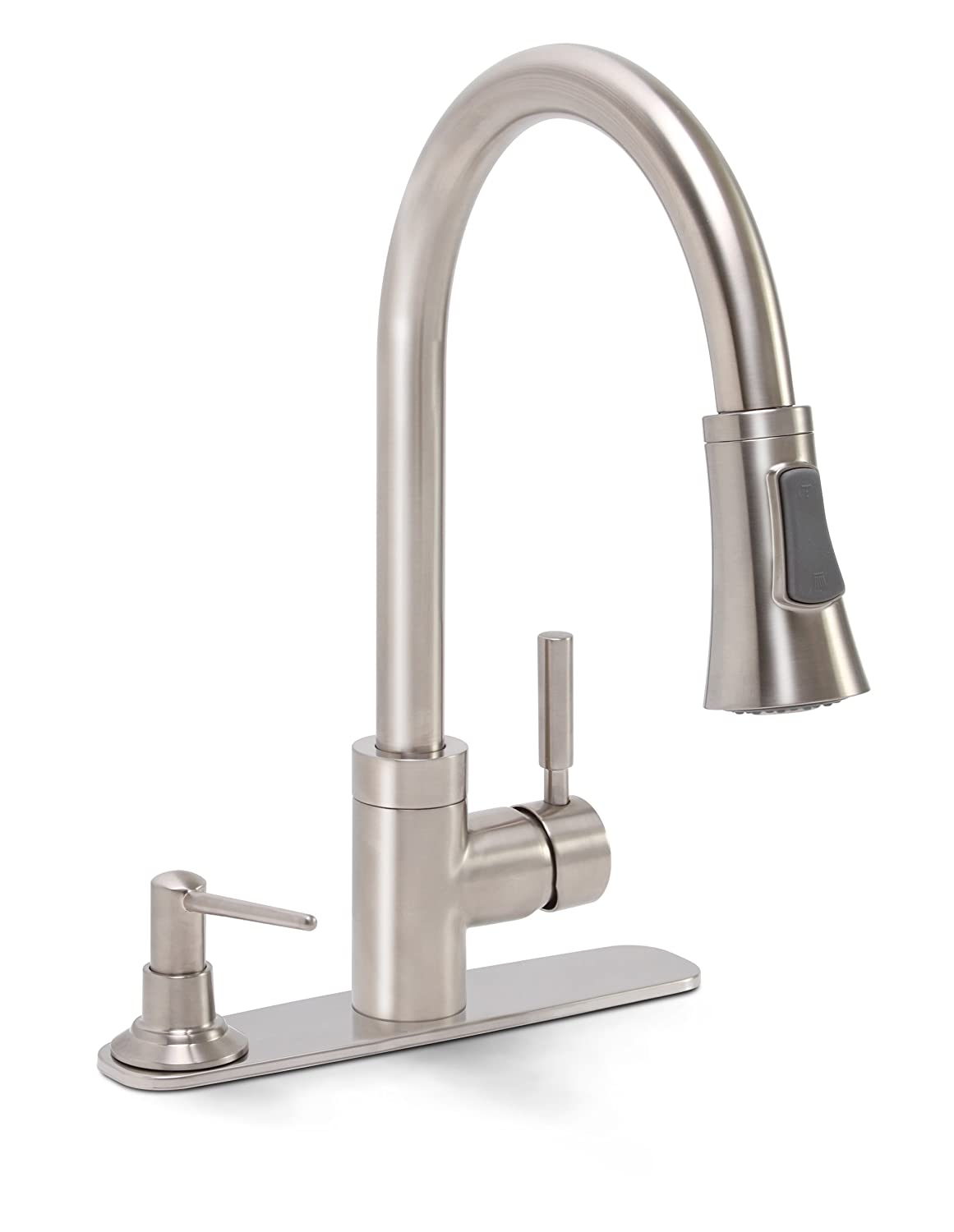 Premier 120077 Essen Lead Free Single Handle Pull Down Kitchen Faucet With  Soap Dispenser, PVD Brushed Nickel   Touch On Kitchen Sink Faucets    Amazon.com
