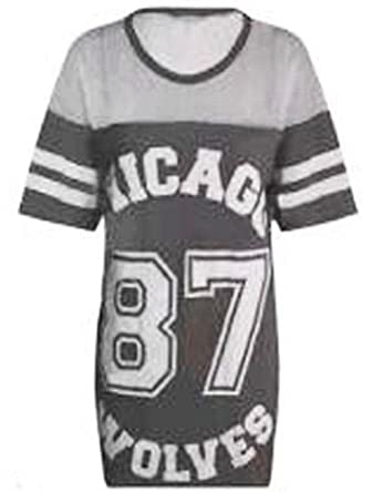 2744e8190f10b Zeetaq Women s Ladies Chicago 87 Wolves Baggy Oversize Baseball T Shirt  Dress Long Top UK Size 8-14  Amazon.co.uk  Clothing