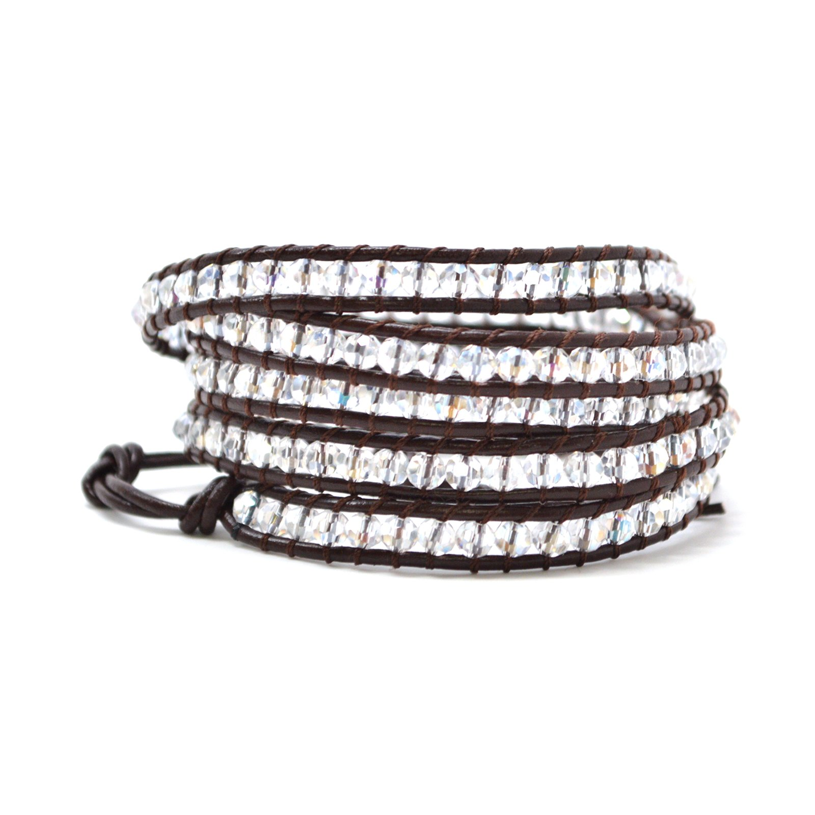Baubles N Gems Bohemian Boho Style Clear Faceted Agate Beads Dark Brown 23'' 3-4 or 34'' 5-6 Wrap and String Bracelet (34 Inches)