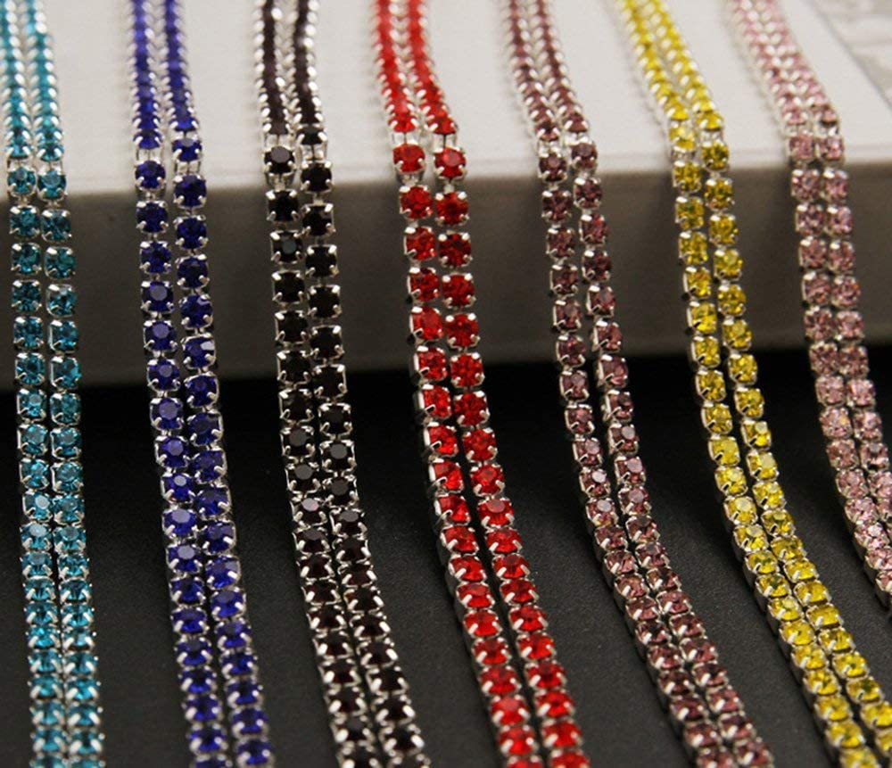 USIX 10 Yards Crystal Rhinestone Close Chain Trimming Claw Chain Multi Size Color Rhinestone Chain for DIY Arts Craft Sewing Jewelry Making SS6//2.0MM Aqua-Gold Chain
