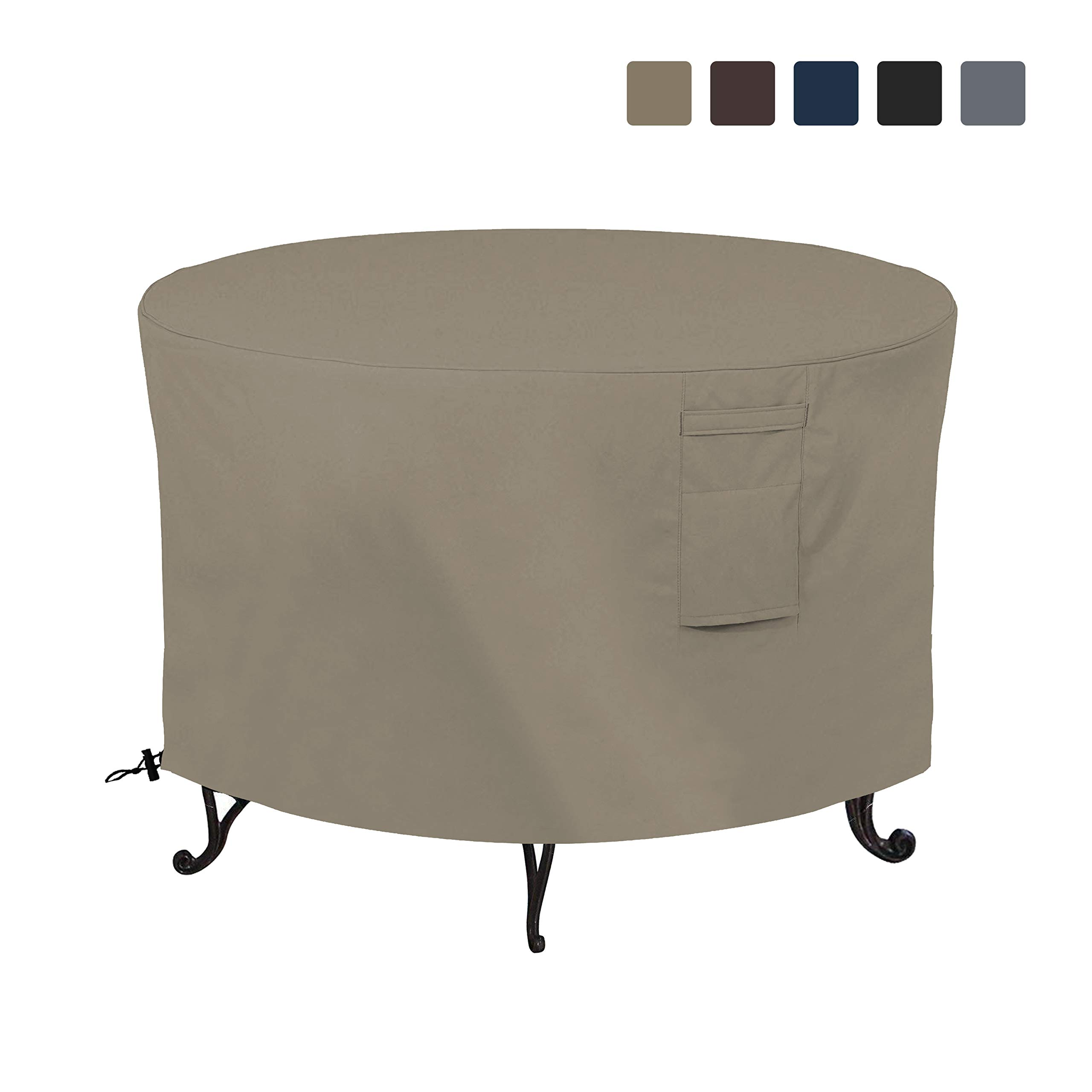 Firepit Covers Round 12 Oz Waterproof - 100% UV & Weather Resistant Full Coverage Custom Size Firepit Cover with Air Pockets & Drawstring for Snug Fit (48 X 18 Inch, Tan - Beige) by COVERS & ALL