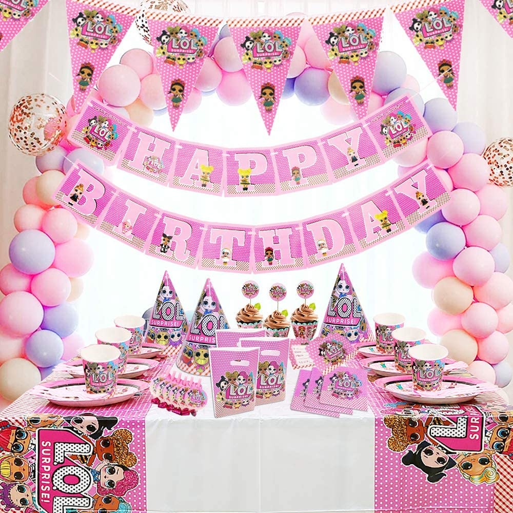 Girl Children Carnival Family Party Supplies Decoration Dream Baby Party 155Pcs Party Supplies Set Surprise Party Decoration Surprise Birthday Decoration Birthday Decor