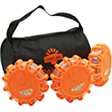 StarFlare LED Road Flares Emergency Disc Safety Light Flashing Roadside Beacon for Car Truck with Storage Bag (Pack of 3)