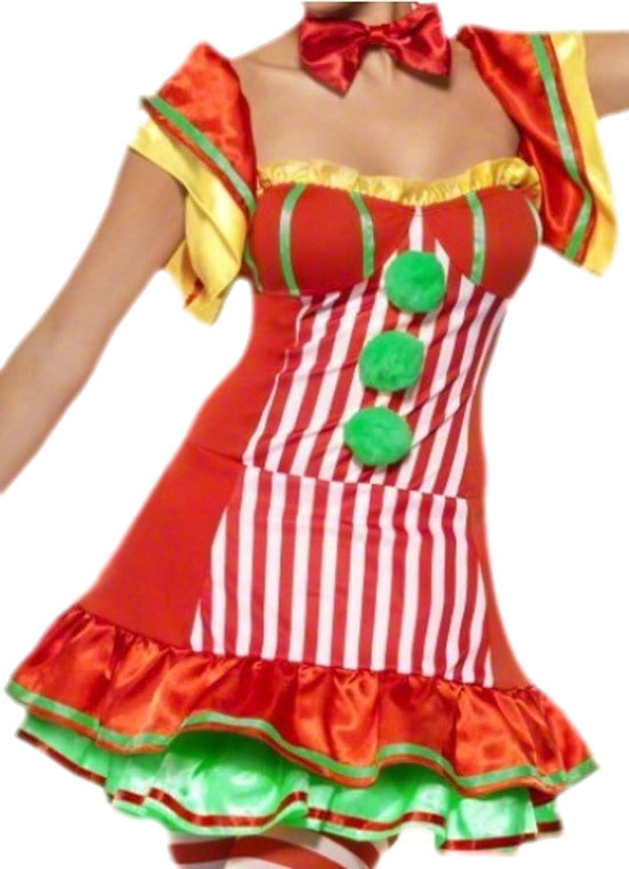 Karnevalsbud - Damen Karnevalskostüm Karnevalskostüm Karnevalskostüm Kleid Clown mit Hütchen , M, Rot cabeba