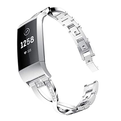 Elobeth Compatible with Fitbit Charge 3 Band Alloy Rhinestone Women Bands  Bracelet Fitbit Charge 3 SE Replacement Band (Silver)