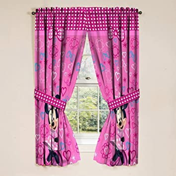 Amazon.com: Disney Minnie Mouse Window Panels Curtains Drapes Pink ...