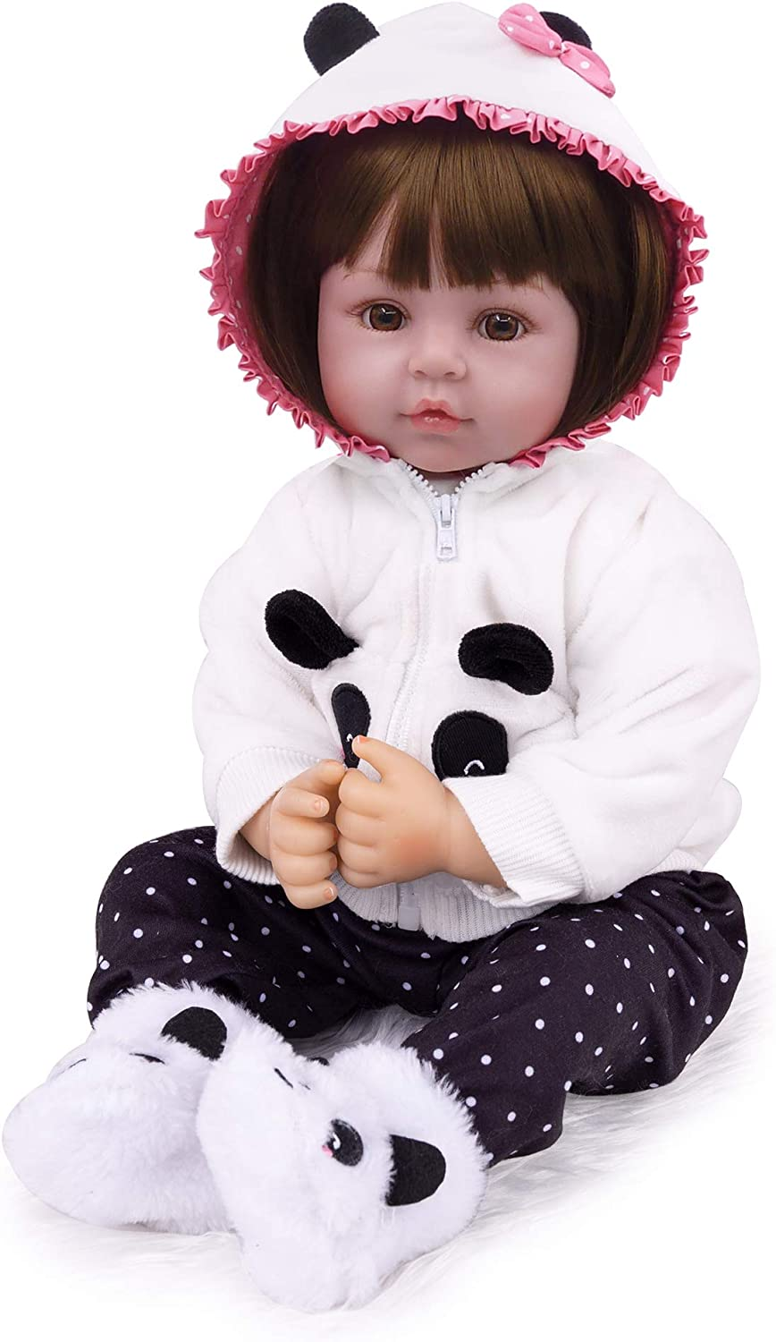 CHAREX 18 Inch Reborn Baby Dolls Adorable Girl Doll Soft Silicone Vinyl Toddler Newborn Reborn Doll for Age 3+
