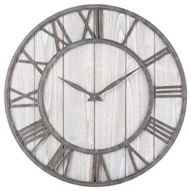 Oldtown Clocks OLDTOWN Farmhouse Metal & Solid Wood Noiseless Wall Clock (WhiteWash, 24-inch)