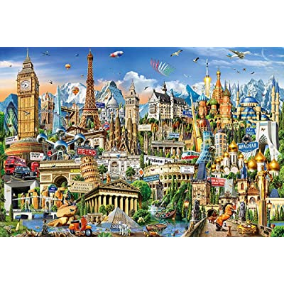 Classic 1000 Pcs Wooden Puzzle, Anime Cartoon 3D DIY Jigsaw Puzzles of European Landmarks HD Poster Difficulty Dense Assemble Parent-child Puzzle Decompression Educational Game Fun Toy Gift for People: Home & Kitchen