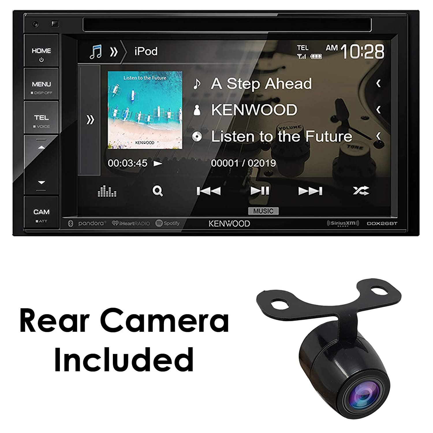 """Kenwood Audio DDX26BT 6 2"""" Double Din Bluetooth WVGA Touch Screen DVD  Receiver w/HD Rear View Camera"""