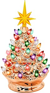 """Joiedomi 9.25"""" Gold Ceramic Christmas Tree, Prelit Tabletop Christmas Tree with Extra Yellow Star Topper & Bulbs for Best Desk Decoration"""