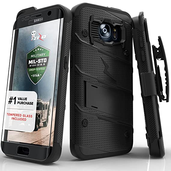 cheaper bf7bf bd031 Samsung Galaxy S7 Edge Case, Zizo [Bolt Series] w/ [Galaxy S7 Edge Screen  Protector] Kickstand [Military Grade DropTested] Holster Clip S7 Edge G935