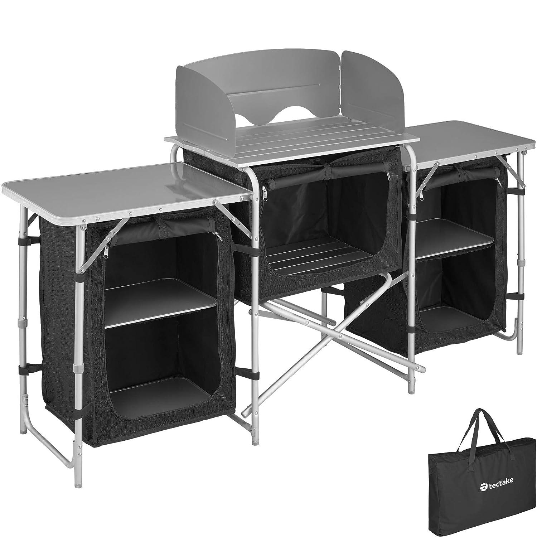con Borsa per Il Trasporto Scomparto Nero Modelli Differenti TecTake 800747 Cucina da Campeggio Mobile Alluminio Compatta