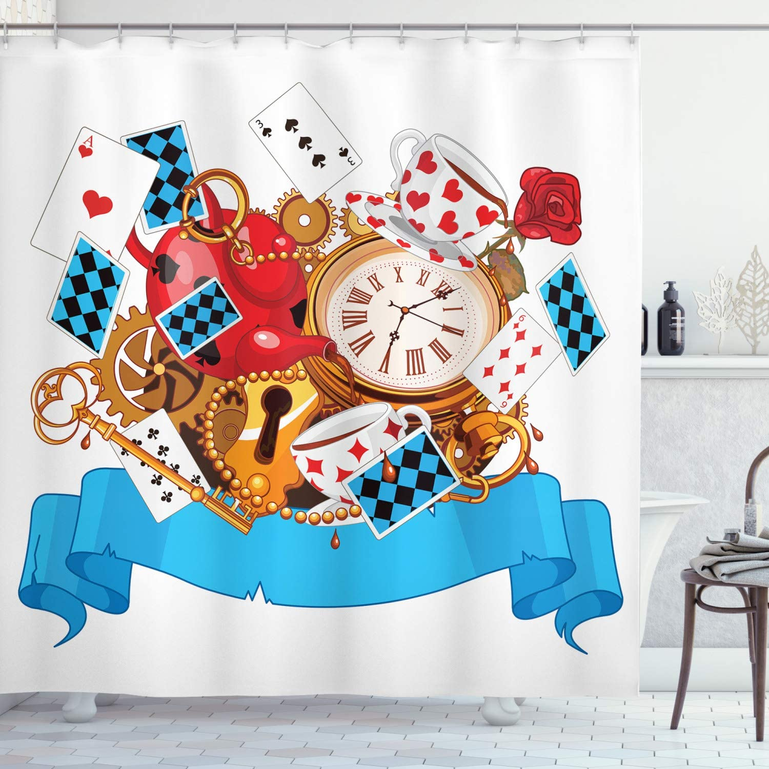 "Ambesonne Alice in Wonderland Shower Curtain, Mad Design of Cards Clocks Tea Pots Keys Flowers Fantasy World Artwork, Cloth Fabric Bathroom Decor Set with Hooks, 84"" Long Extra, Blue White"