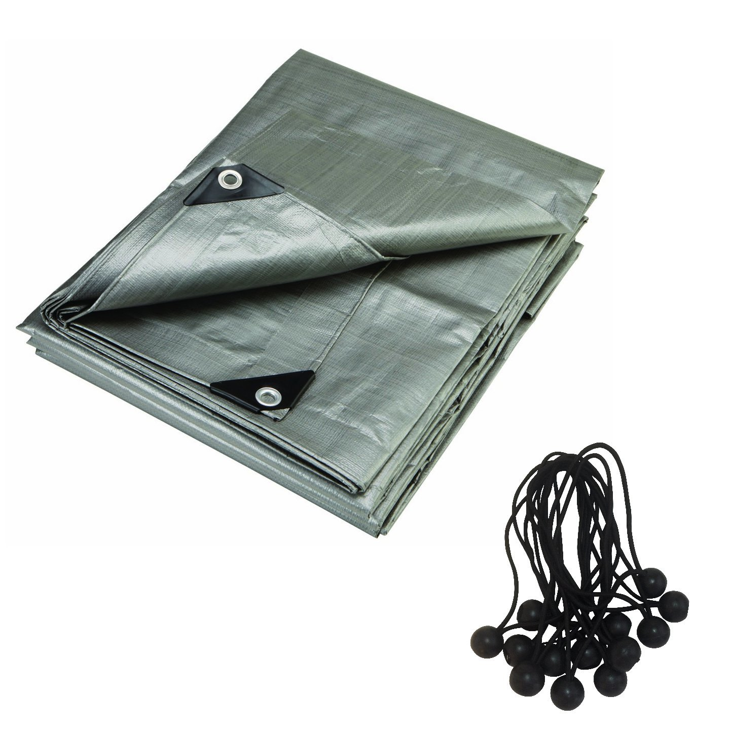 RMS 20 x 30 Foot 16 Mil Super Heavy Duty Gray Contractors Tarp with 25 Ball Bungees. 8 Oz (380GSM) Uv Protecting