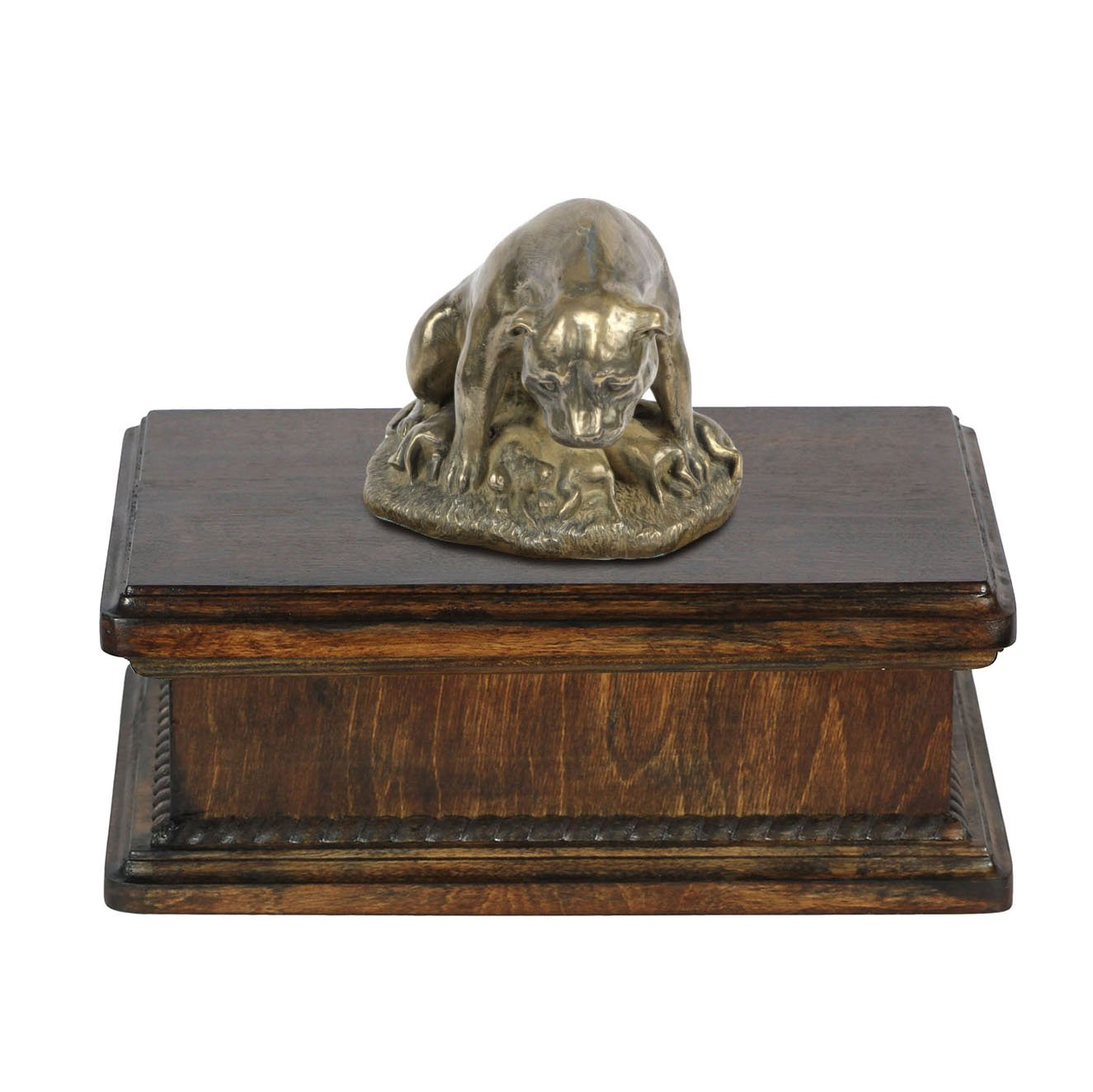 English Staffordshire Terrier (mama), memorial, urn for dog's ashes, with dog statue, exclusive, ArtDog