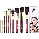 Makeup Pinsel Set Professionelles Schmink Pinselset Kosmetikpinsel Kabuki Gesichtpinsel Eyeliner Concealer Lidschatten 8 Stück mit Ohrlöffel und Mitesserentferner