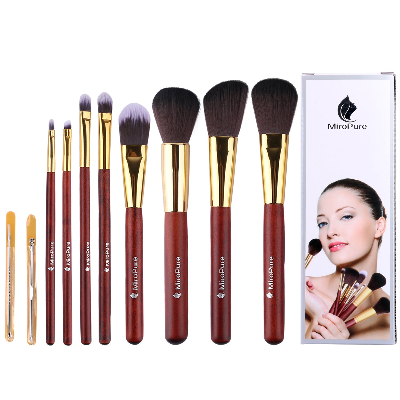kabuki makeup brush set. amazon.com : miropure 8-piece kabuki makeup brush set with ear pick and acne needle (golden carmine / black) beauty