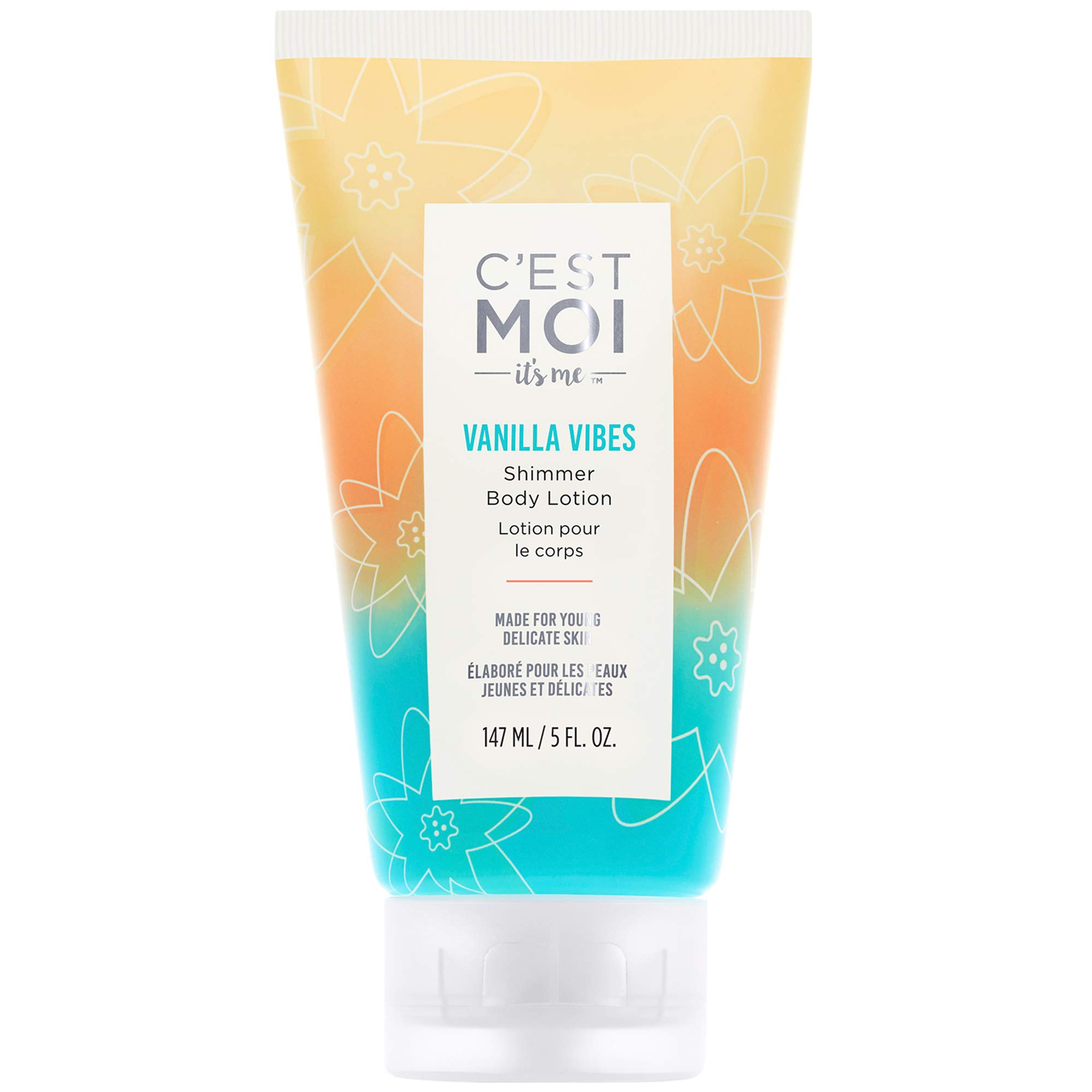 C'est Moi Vanilla Vibes Shimmer Body Lotion   Organic Shea Butter, Avocado Oil, Flaxseed Oil, Aloe, Hydrating, Provides Subtle Natural Glow, Moisturizer, Hydrating, Gentle, 5 fl oz by C'est Moi