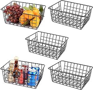 5PCS Wire Storage Baskets, Premium Metal Storage Organizer Basket, Small Size Metal Baskets for Home Office Kitchen, Black
